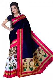 Meia Beige Art Silk Batik Print Saree With Blouse