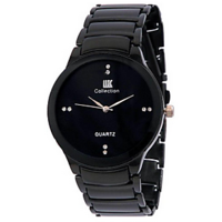 NO1  Iik Collection Black Metal Analog Watch For Men By