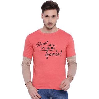 Campus Sutra Orange Round Neck Full Sleeves T-Shirt for Men