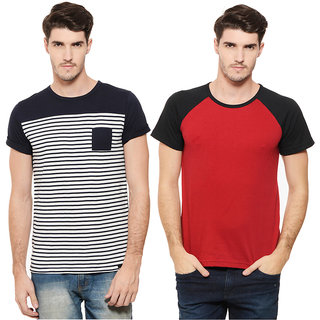 Rigo Men's Multicolor Round Neck T-Shirt (Pack of 2)