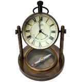 Antique Clock & Compass Pure Brass Handicraft 105