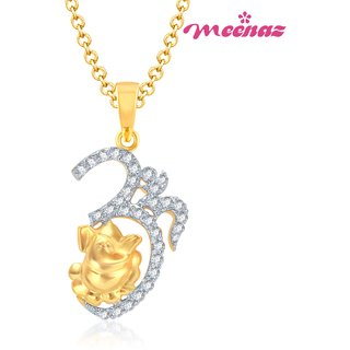 MEENAZ OM GANESH  GOLD AND RHODIUM PLATED CZ GOD PENDANT GP109