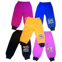 Om Shree Kids Cotton 4 Ways Multicolour Rib Track Pant (Pack of 5)