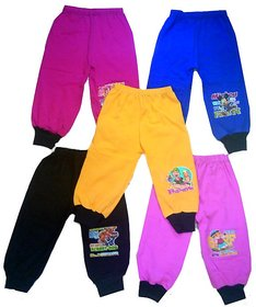 Om Shree Kids Cotton 4 Ways Multicolour Rib Track Pant (Pack of 5)
