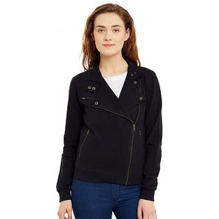 Hypernation Full Sleeve Solid Womens Jacket