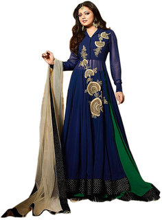 Ethnic Empire Blue Georgette Anarkali Semi-Stitched Suit