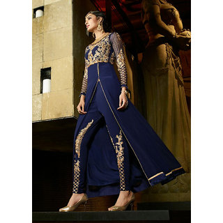 eed4acf1bbdc3 Ethnic Empire Designer Blue Embroidered Party Wear Long Suit for women girls