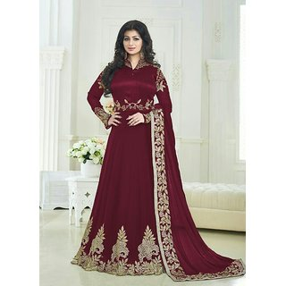 Ethnic Empire Designer Beautiful Mahroon Embroidered Work Long Anarkali Suit for women  girls