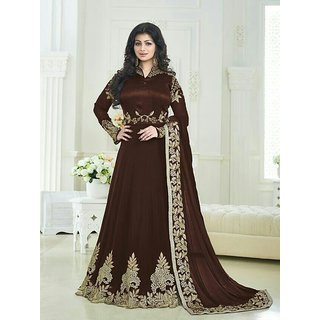 Ethnic Empire Designer Beautiful Brown Embroidered Work Long Anarkali Suit for women  girls