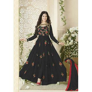 Ethnic Empire Designer Beautiful Black Flower Printed Long Anarkali Suit for women  girls
