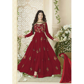 Salwar Soul Georgette Red Flower Printed Long Anarkali Embroidered Semi-Stitched Suit For Women