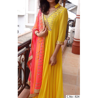 Ethnic Empire Yellow Georgette Anarkali Semi-Stitched Suit