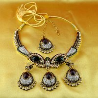 Gold Platted Meenakari Necklaces With Earing And Mang Tikka