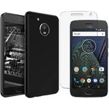 Motorola moto G5 plus back cover black with tempered glass
