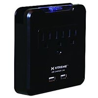 Xtreme XWS8-0109-BLK 3 Outlet Surge Wall Tap With 2 USB