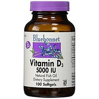 Bluebonnet Vitamin D3 5000 IU Vegetable Capsules, 100 C