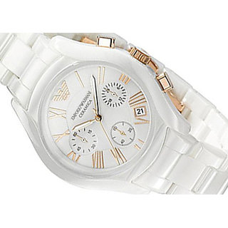 Emporio Armani Men's Ceramic White Chronograph Dial Watch