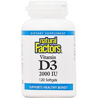 Natural Factors Vitamin D3 2000iu Softgels, 120-Count