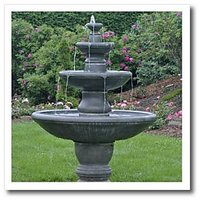 3dRose ht_76061_3 New Brunswick, St Andrews, Fountain at Kingsbrae Garden-SUSAn Pease-Iron on Heat Transfer for Material, 10 by 10-Inch, White