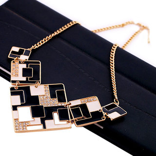 Cinderella Black & White Geometric Necklace