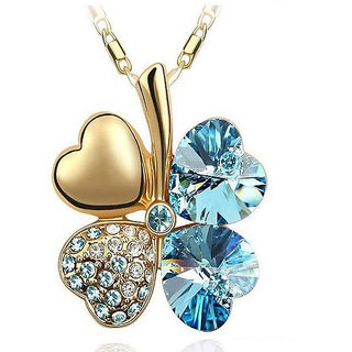 Cinderella Gold Plated Sea Blue Clover Necklace