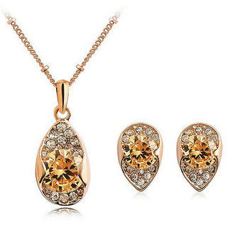 Cinderella Rose Gold Plated Crystal Necklace Set