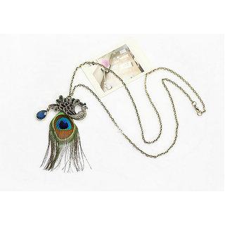 Cinderella Peacock Feather Pendant Necklace