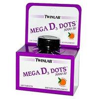 Twinlab Mega D3 Dots Tangerine 5000 IU Tablets, 100 Cou