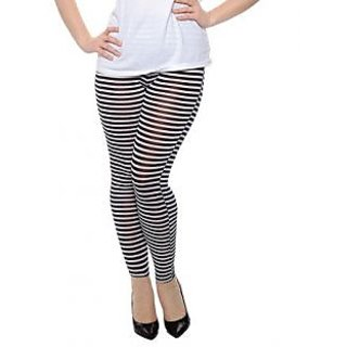 Kotty Black  White Cotton Striped Leggings