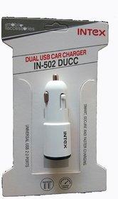 INTEX IN-502 DUCC 2.4A Dual USB Ultra Fast Car Charger+ 3 Months Intex Warranty