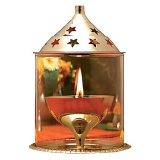 Crafteddiya Pure Brass Diya Meduim With Glass Chimney