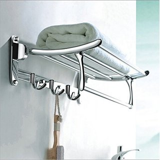 Fortune Platinum Stainless Steel Folding Towel Rack (1.5 feet Long / 18 inch) Bathroom Rack /Towel Stand