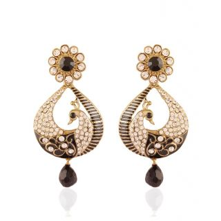 Styylo Jewels Exclusive Golden Black White Earring Set /S 2663