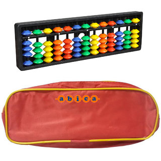 Abica Abacus math learning kit for kids 13 rod multi color with pouch ( pack of 1 )