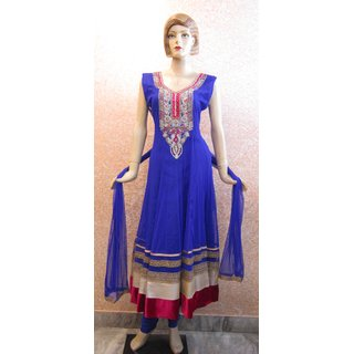 Anarkali Hand Embroidered Suit Blue
