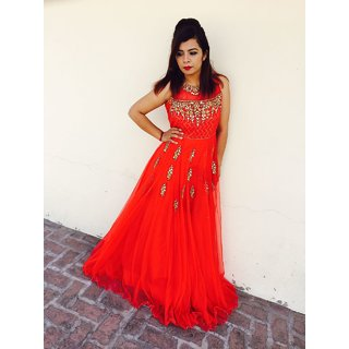 Buy Women s Red Gown With Net Patch Work Online   ₹3599 from ShopClues df5ca1c50