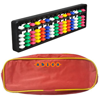 Abica Abacus math learning kit for kids 15 rod multi color with pouch ( pack of 2 )