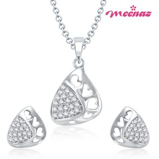 MEENAZ GRACEFUL RHODIUM PLATED CZ PENDANT SET PT119