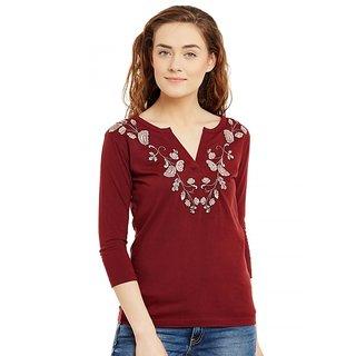Hypernation Embroidered Women's V-neck Maroon T-Shirt