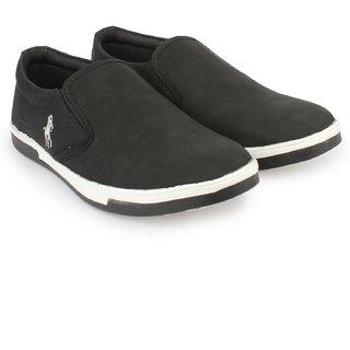 Do Bhai Men's Black Slip On Casual Shoes