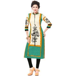 Pari Green Printed Khadi Unstitched Kurti