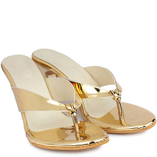 Do Bhai Women's Gold Heels