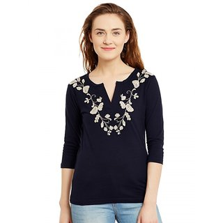 Hypernation Embroidered Women's V-neck Dark Blue T-Shirt