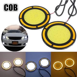 2x High Power COB Round White DRL Amber Turn fog Light For Honda Cars