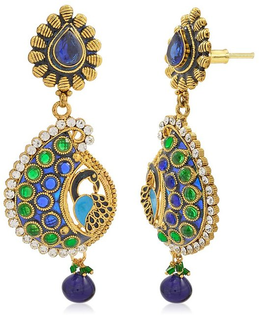 Styylo Jewels Exclusive Golden Green Blue White Multi Color Earring Set /S  2762