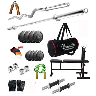 Dreamfit 55 KG Home Gym With 4 Rods , I/D/F BENCH, Gym Bag and Accessories