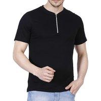 Fanideaz Black Polo Neck Half Sleeve T-Shirt for Men