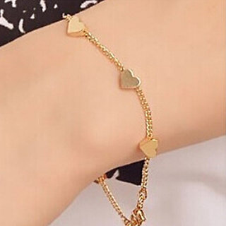 Romantic Heart Charm Gold Plated Chain Link Bracelet - 1 Qty