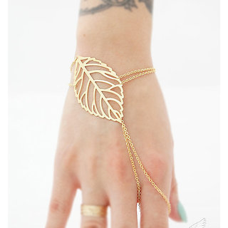 Veronique- Gold Leaf Cut Hand Chain Ring Bracelet - 1Qty