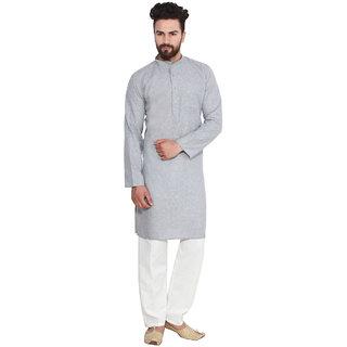 Sojanya Gray Cotton Blend Plain Men's Kurta & Pyjama Sets